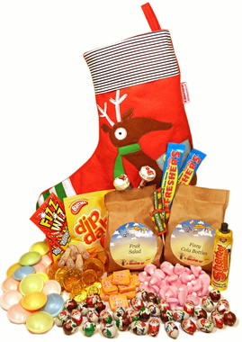 Super Reindeer Stockings packed full of stocking fillers nostalgia